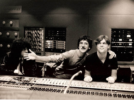 Argentine rocker Charly García (center) and Blaney during the mixing of 'Piano Bar' (1984). Daniel Jacobson observes them. (courtesy joeblaney.com)
