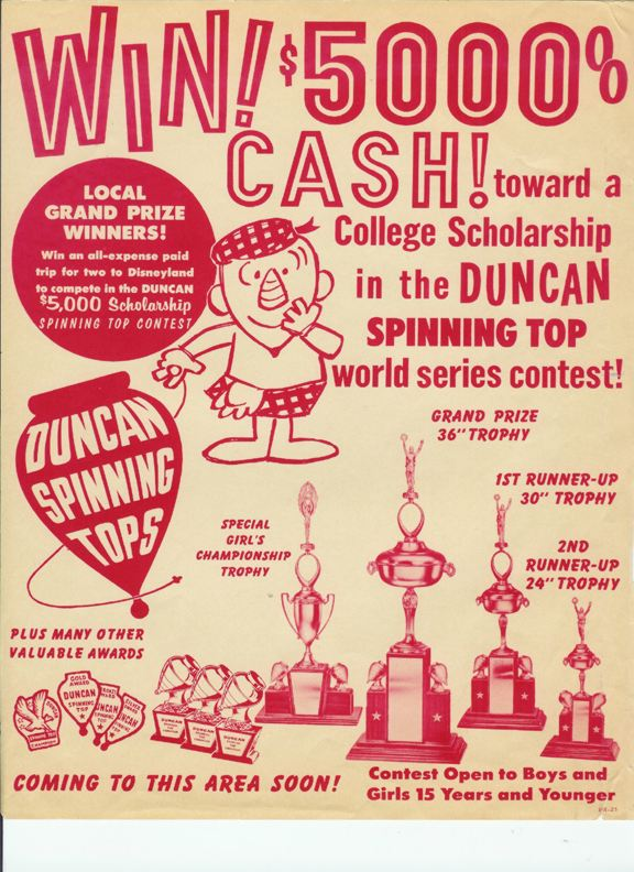 An ad for Duncan's 1964 tournament, one year after the one won by Rusty.